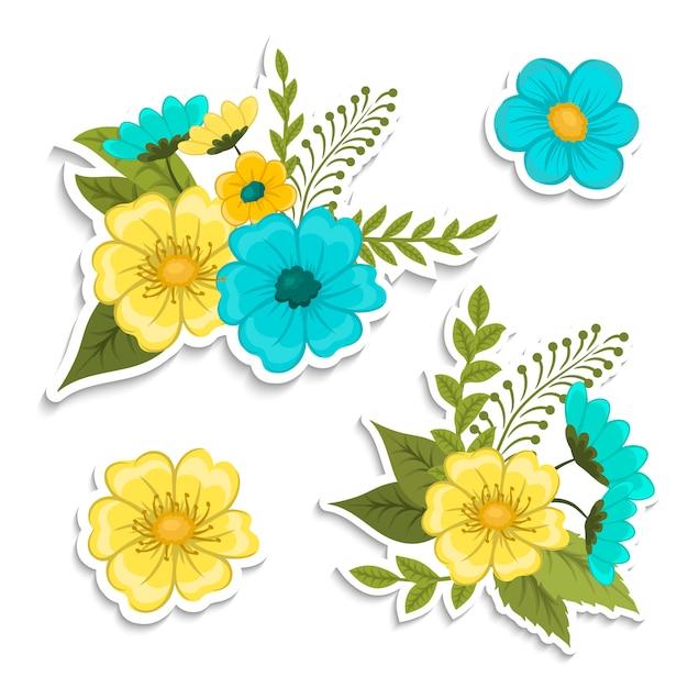 Composizione floreale con fiore colorato. Vettore gratuito