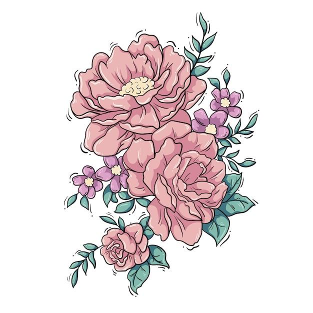 Composizione floreale di peonie Vettore Premium