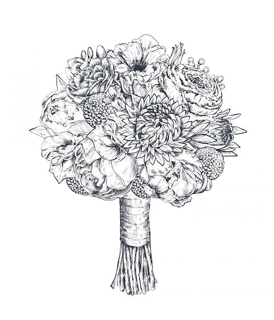 Composizione floreale. mazzo bradale con bellissimi fiori disegnati a mano, piante, nastro. illustrazione monocromatica in stile schizzo Vettore Premium