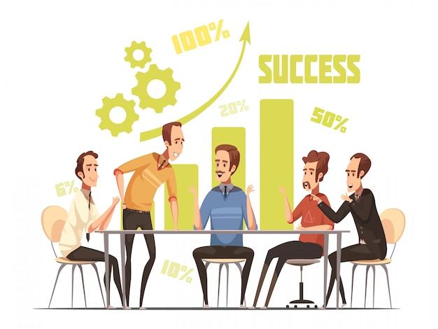 Composizione in riunione d'affari con l'illustrazione di vettore del fumetto di simboli di idee e di successo Vettore gratuito