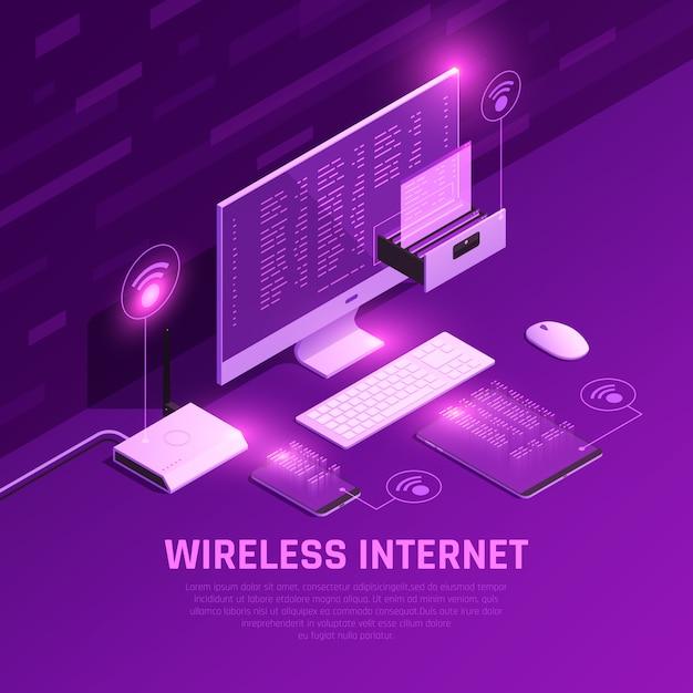 Composizione incandescente isometrica in internet wireless con router pc e dispositivi mobili su viola Vettore gratuito