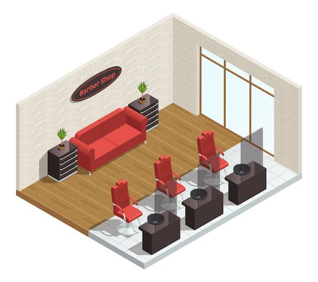 Composizione interna isometrica del salone del barbiere Vettore gratuito