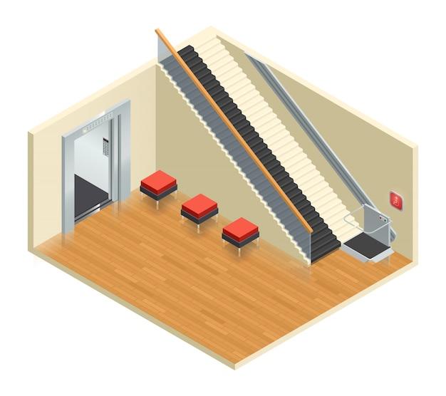 Composizione interna isometrica della scala mobile dell'ascensore dell'elevatore di accesso disabile Vettore gratuito