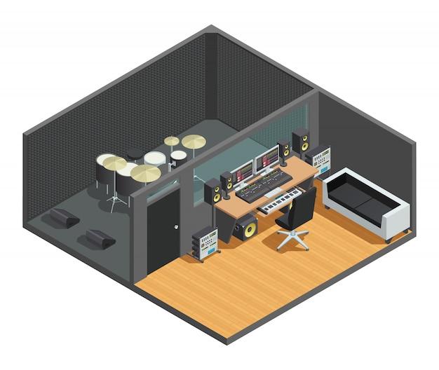 Composizione interna isometrica di studio musicale con cassa acustica del kit di batteria e sala di controllo con miscelatore Vettore gratuito