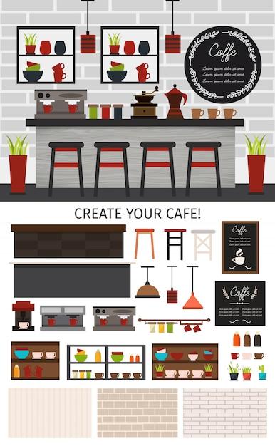 Composizione interna piana nella caffetteria con le piante e le pareti degli scaffali di negozio delle lampade delle contro sedie isolate Vettore gratuito