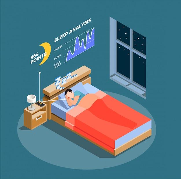 Composizione isometrica analisi del sonno Vettore gratuito