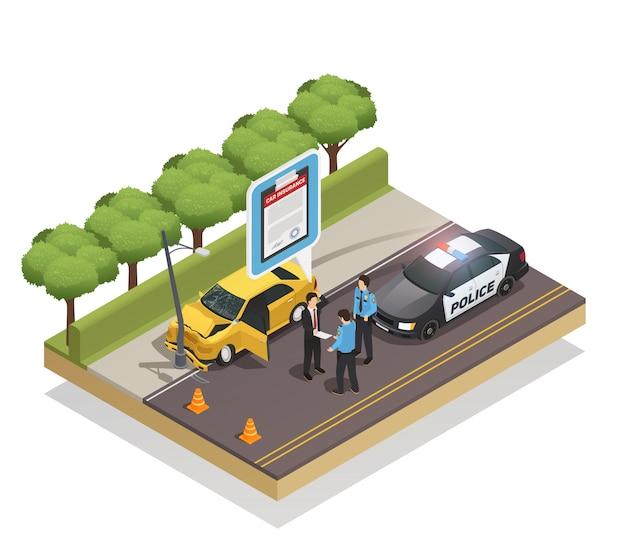 Composizione isometrica assicurativa Vettore gratuito