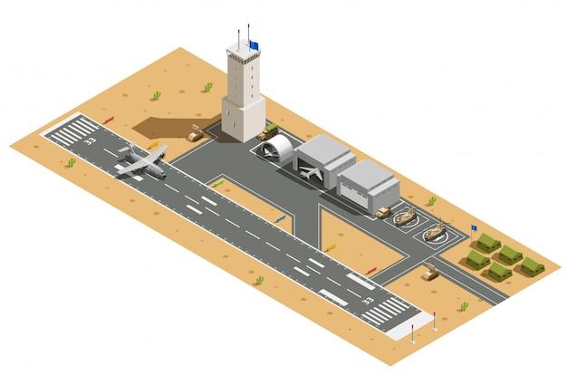 Composizione isometrica base aerea militare Vettore gratuito