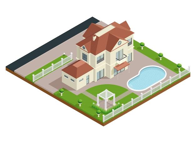 Composizione isometrica casa di periferia Vettore Premium