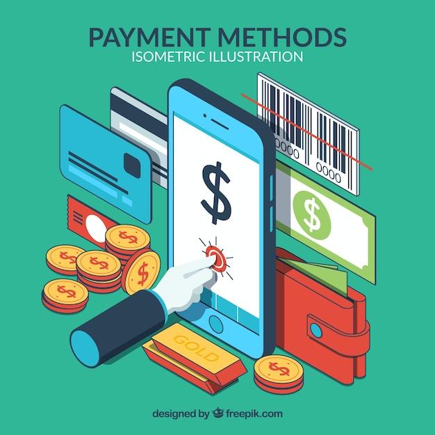 Composizione isometrica con metodi di pagamento Vettore gratuito
