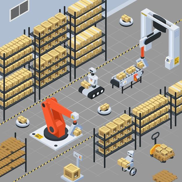 Composizione isometrica consegna logistica automatica Vettore gratuito