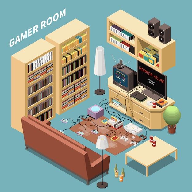 Composizione isometrica dei giocatori di gioco con vista interna del soggiorno con scaffali e console per mobili Vettore gratuito