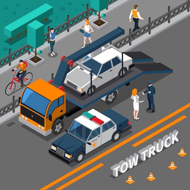 Composizione isometrica del camion di rimorchio Vettore gratuito