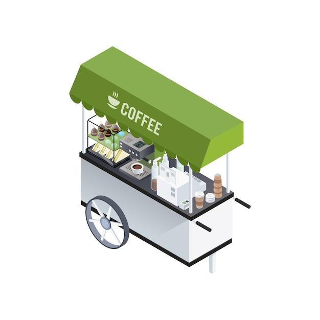 Composizione isometrica del carrello del caffè Vettore gratuito
