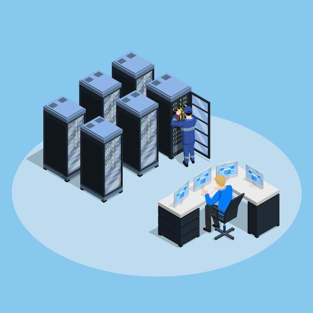 Composizione isometrica del data center Vettore gratuito
