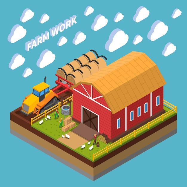 Composizione isometrica del lavoro agricolo con gli agricoltori che allattano gli animali domestici vicino alla tettoia sul cortile Vettore gratuito