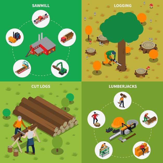 Composizione isometrica del legname del mulino del legname della segheria Vettore gratuito