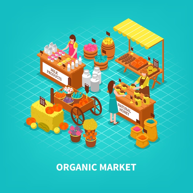 Composizione isometrica del mercato agricolo Vettore gratuito