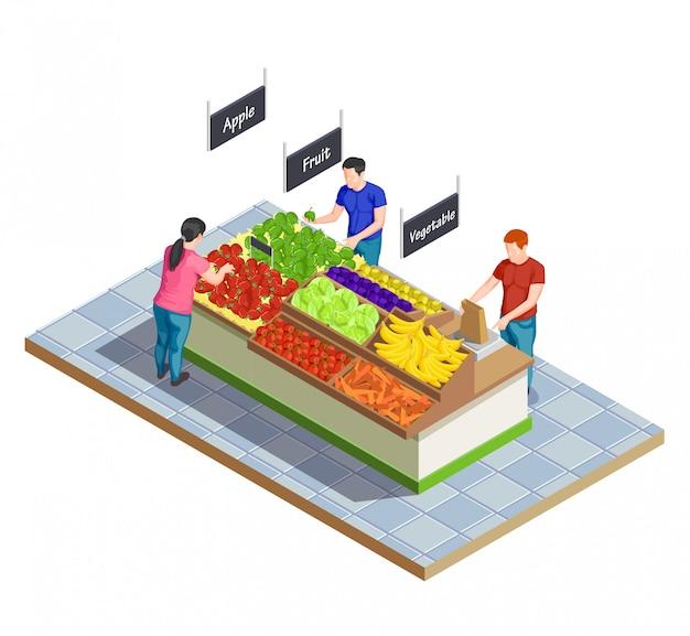 Composizione isometrica del mercato alimentare Vettore gratuito