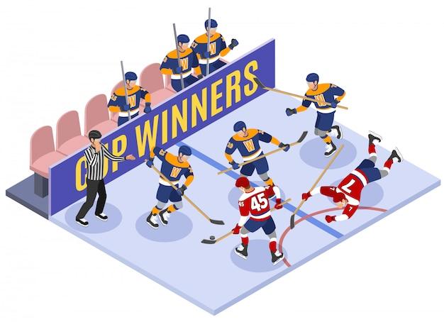 Composizione isometrica del momento di gioco dei vincitori della coppa di hockey su ghiaccio con arbitro di violazione della regola che valuta penalità Vettore gratuito
