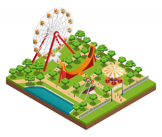 Composizione isometrica del parco di divertimenti con il carosello Vettore gratuito