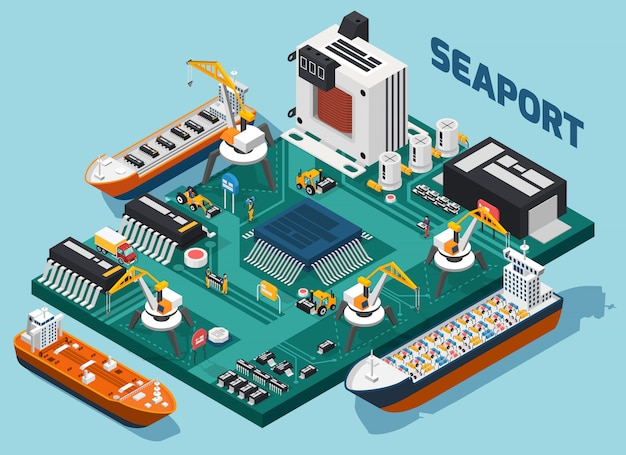Composizione isometrica del porto marittimo dei componenti elettronici a semiconduttore Vettore gratuito