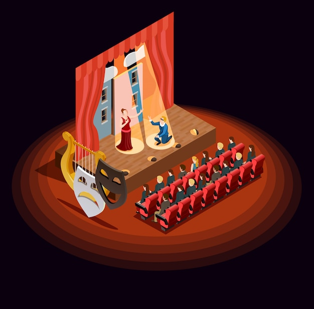 Composizione isometrica del teatro auditorium Vettore gratuito