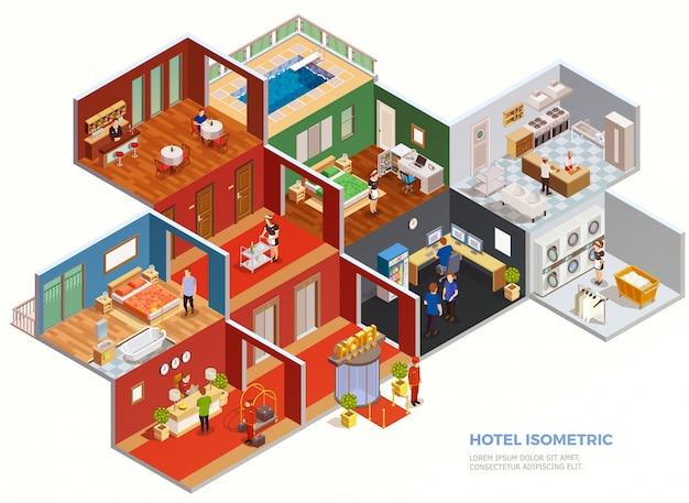 Composizione isometrica dell'hotel Vettore gratuito