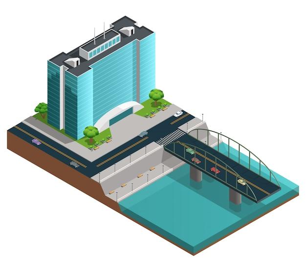 Composizione isometrica della città con costruzione moderna di molti piani sulla banca del canale Vettore gratuito