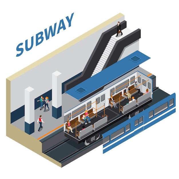 Composizione isometrica della metropolitana Vettore gratuito