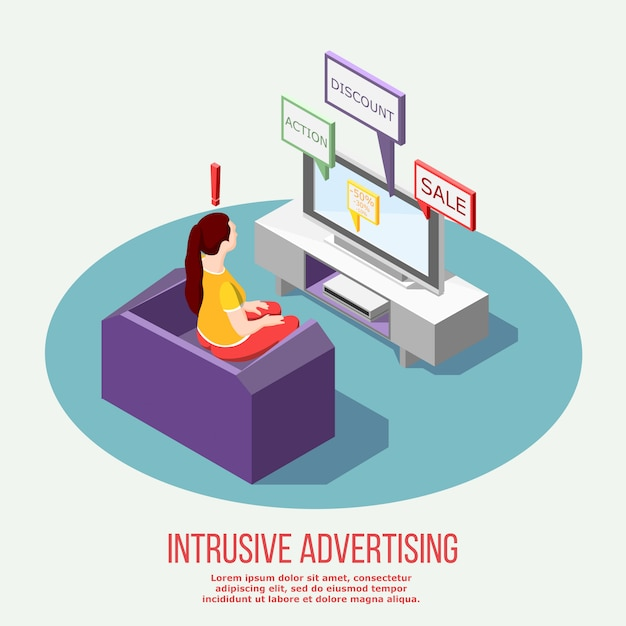 Composizione isometrica della pubblicità fastidiosa della tv Vettore gratuito