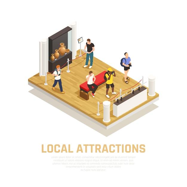 Composizione isometrica delle attrazioni locali con persone durante la visita del museo nel tempo di viaggio Vettore gratuito