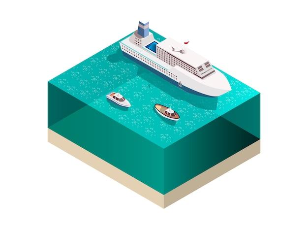 Composizione isometrica delle navi turistiche Vettore gratuito