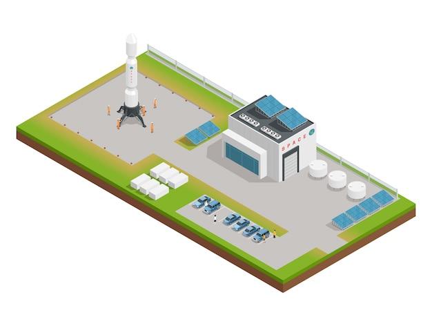 Composizione isometrica dello spazio 3d la disposizione dell'edificio, che si occupa del servizio e della costruzione di Vettore gratuito