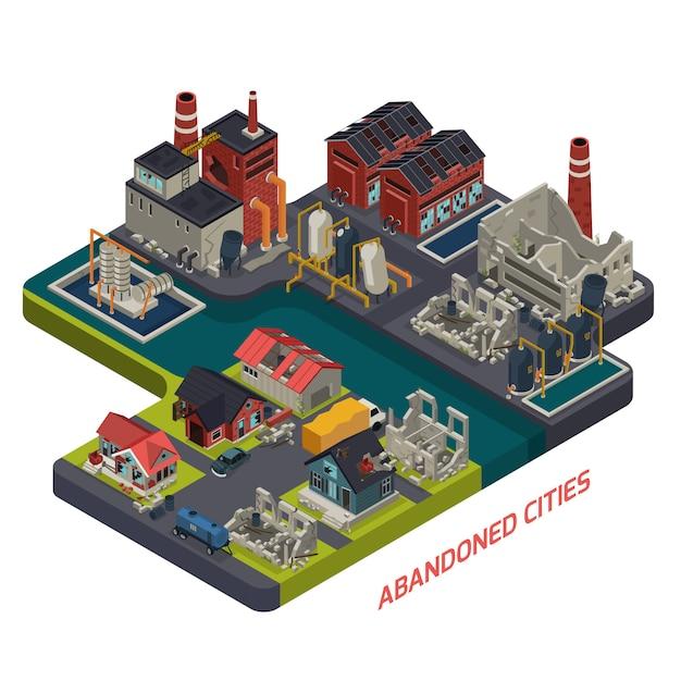 Composizione isometrica di città abbandonate Vettore gratuito