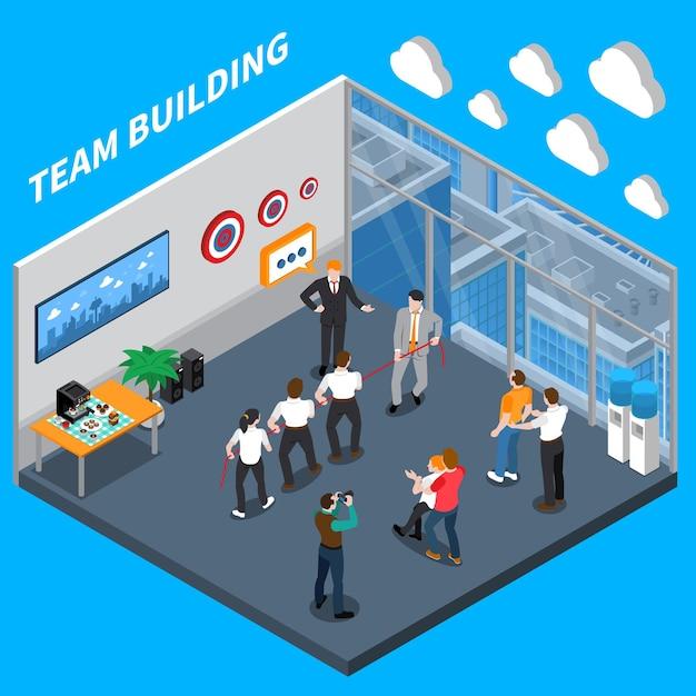 Composizione isometrica di coaching per dirigenti aziendali con team di fiducia che costruiscono esercitazioni pratiche nella formazione sul posto di lavoro Vettore gratuito