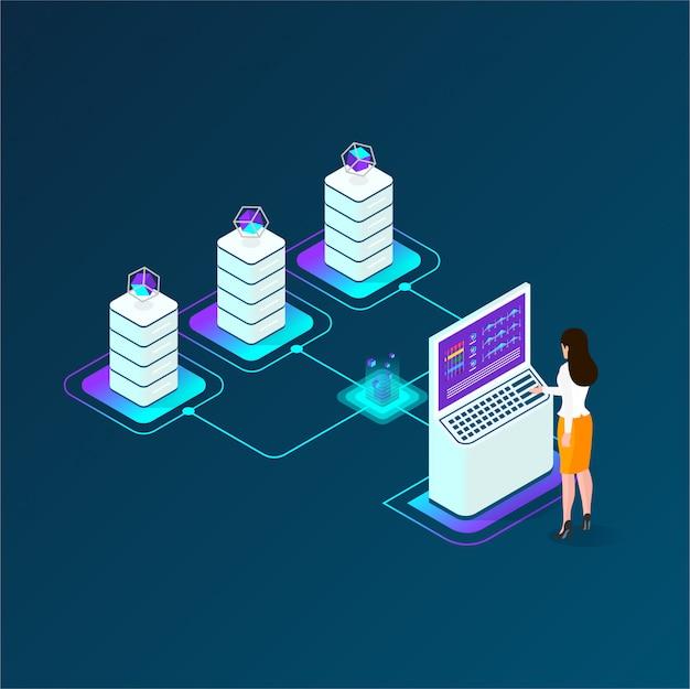 Composizione isometrica di criptovaluta e blockchain, analisti e manager che lavorano su cripto start up, analisti di dati Vettore Premium