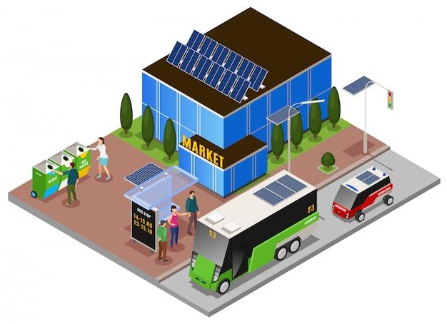Composizione isometrica di ecologia urbana intelligente con costruzione di batterie solari e cassonetti per rifiuti con arresto elettrico omnibus Vettore gratuito