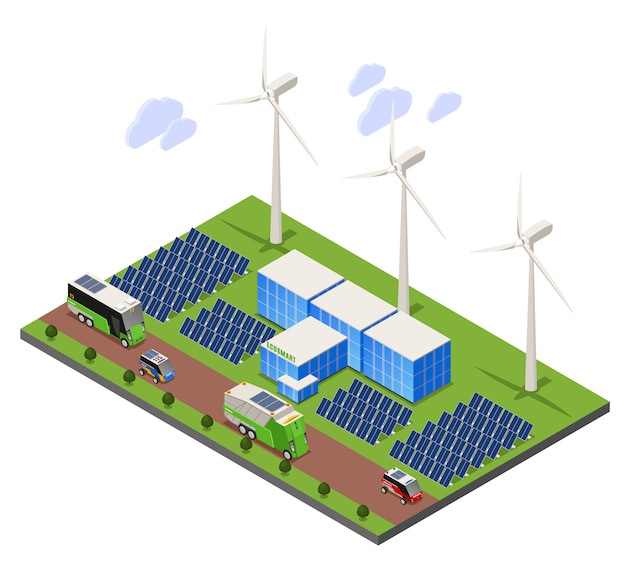 Composizione isometrica di ecologia urbana intelligente con scenario all'aperto e campo batteria solare con torri di turbine eoliche Vettore gratuito