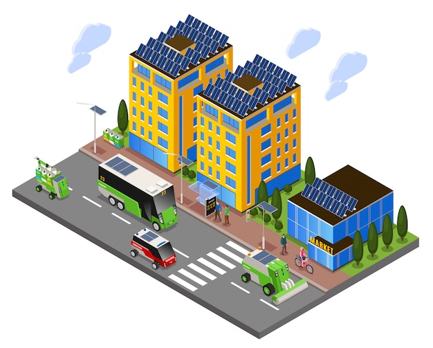 Composizione isometrica di ecologia urbana intelligente con vista sulla strada di edifici ad energia solare e trasporto elettrico Vettore gratuito