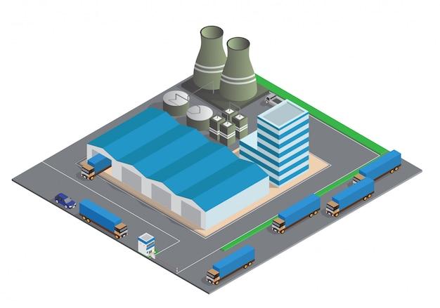 Composizione isometrica di edifici industriali Vettore Premium