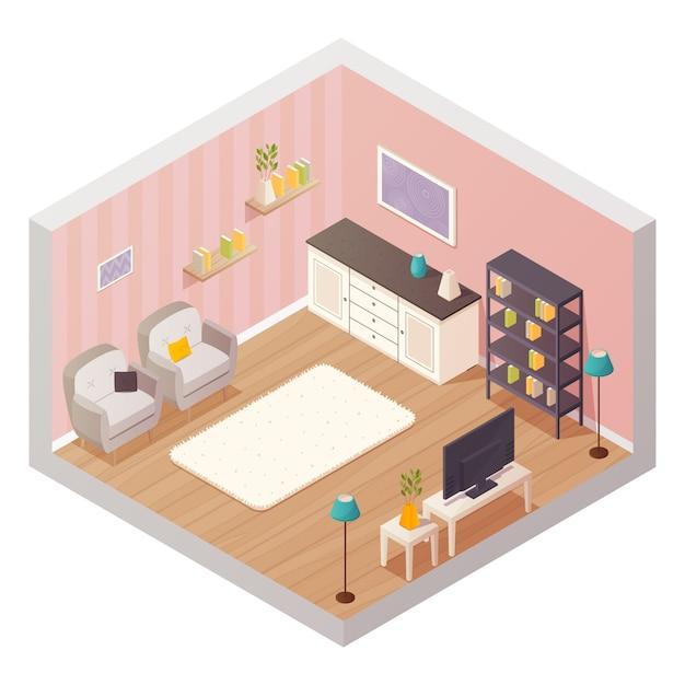 Composizione isometrica di interior design del salone con le icone del fumetto Vettore gratuito