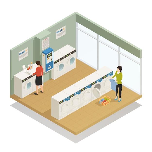 Composizione isometrica di lavanderia Vettore gratuito