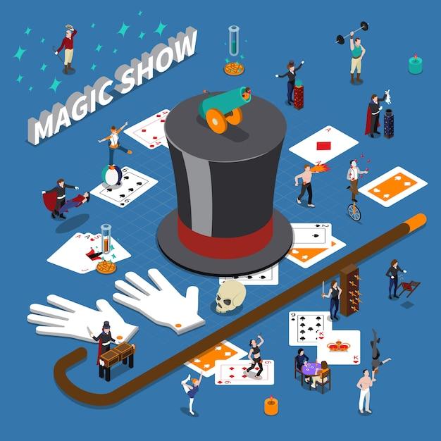 Composizione isometrica di magic show Vettore gratuito