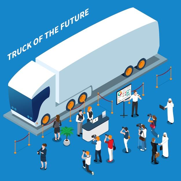 Composizione isometrica di presentazione del camion elettrico Vettore gratuito