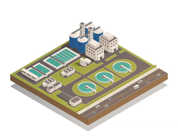 Composizione isometrica di pulizia delle acque reflue Vettore gratuito