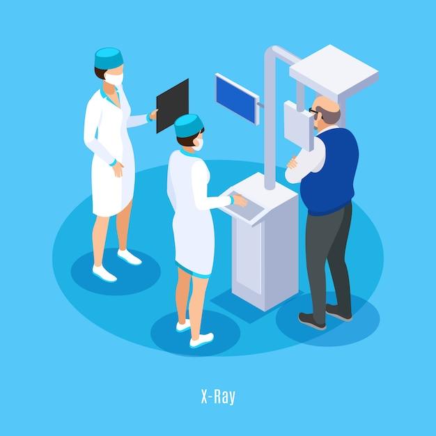 Composizione isometrica di ricerca in ct del raggio x dell'ufficio del dentista con il fondo blu paziente dell'assistente del tecnico medico Vettore gratuito