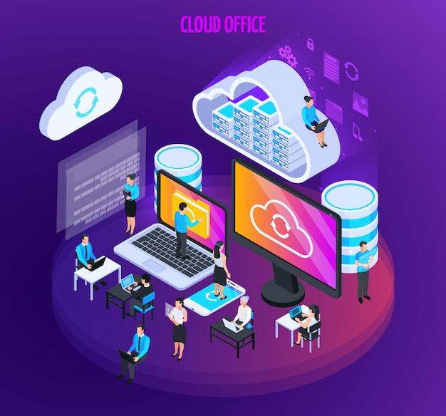 Composizione isometrica di servizi cloud con piccole figure di persone con schermi di computer Vettore gratuito