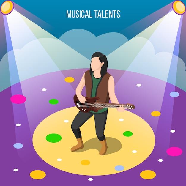 Composizione isometrica di talenti musicali Vettore gratuito