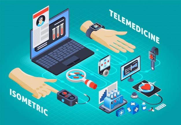 Composizione isometrica di telemedicina digitale sulla salute Vettore gratuito